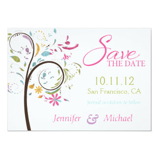 Sate the Date Doodle Tree 13 Cm X 18 Cm Invitation Card