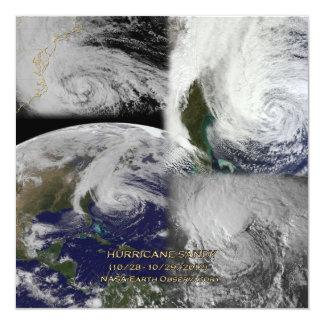"Satellite Collage View of Hurricane Sandy 5.25"" Square Invitation Card"