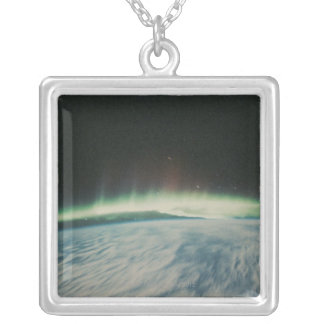 Satellite Image of Northern Lights Silver Plated Necklace