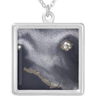 Satellite image of Semisopochnoi Island Silver Plated Necklace
