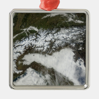 Satellite image of The Alps mountain range Christmas Ornament