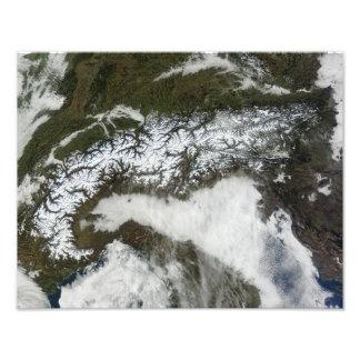 Satellite image of The Alps mountain range Photo Print