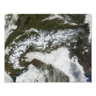 Satellite image of The Alps mountain range Photographic Print