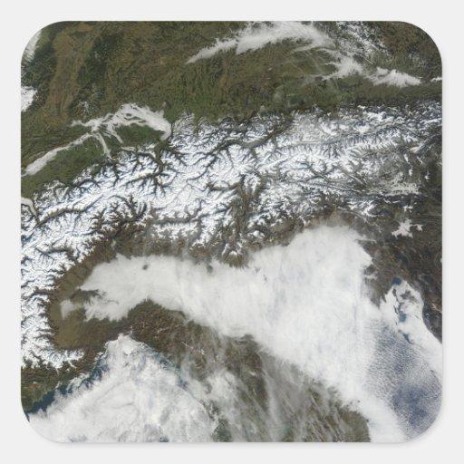Satellite image of The Alps mountain range Square Sticker