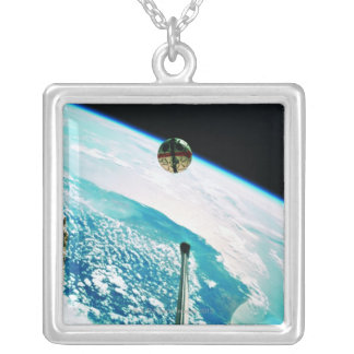 Satellite Orbiting Earth 7 Silver Plated Necklace