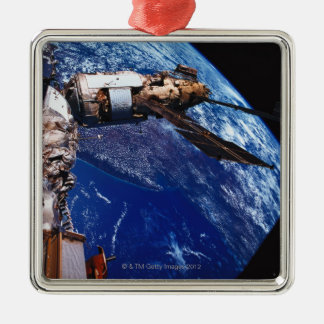 Satellite Orbiting in Space 2 Silver-Colored Square Decoration