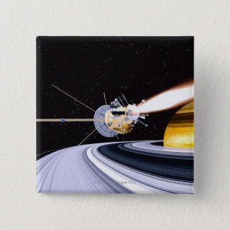 Satellite orbiting Saturn 15 Cm Square Badge
