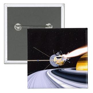 Satellite orbiting Saturn 15 Cm Square Badge