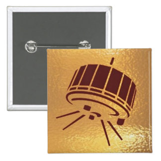 Satellite Robot Space Station - Medal Icon Gold 15 Cm Square Badge