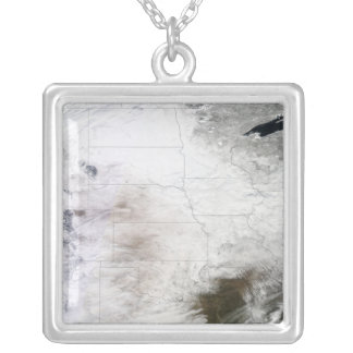 Satellite view of a massive winter storm over U Silver Plated Necklace