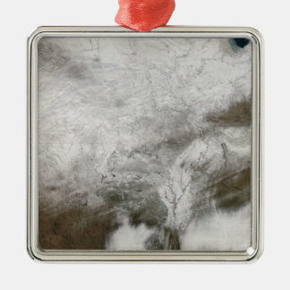 Satellite view of a severe winter storm christmas ornament