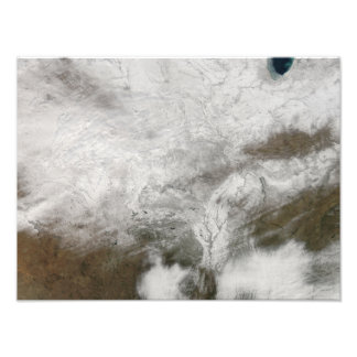 Satellite view of a severe winter storm photo print