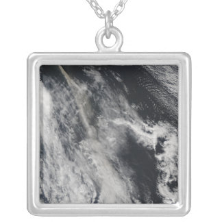 Satellite view of an ash plume 2 silver plated necklace