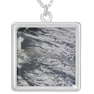Satellite view of an ash plume 3 silver plated necklace
