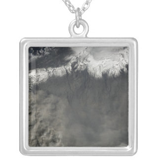 Satellite view of an ash plume 4 silver plated necklace
