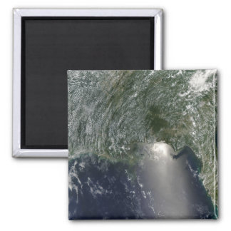 Satellite view of an oil spill square magnet