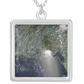 Satellite view of an oil spill square pendant necklace