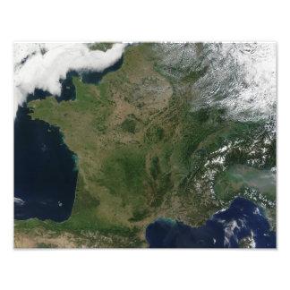 Satellite view of France Photo Print