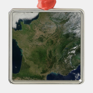 Satellite view of France Silver-Colored Square Decoration