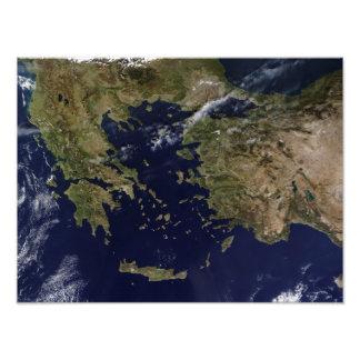 Satellite view of Greece and Turkey Photo Art