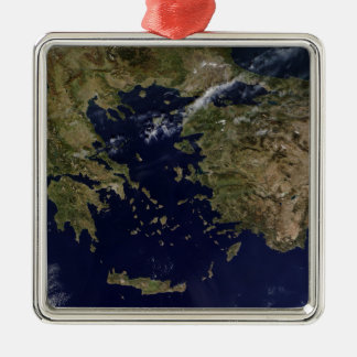 Satellite view of Greece and Turkey Silver-Colored Square Decoration