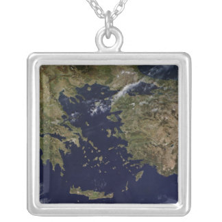 Satellite view of Greece and Turkey Silver Plated Necklace