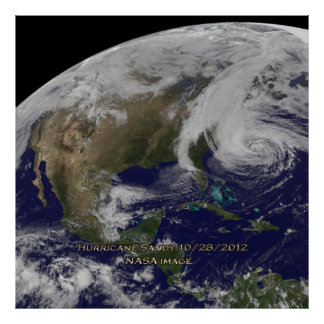 Satellite View of Hurricane Sandy Poster