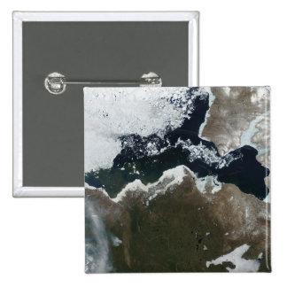 Satellite view of Northwest Canada 15 Cm Square Badge