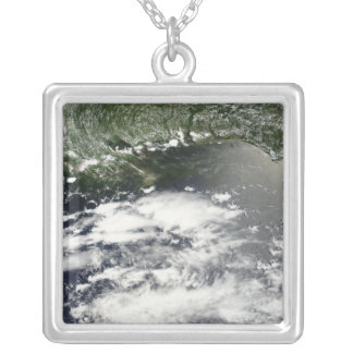 Satellite view of oil leaking 2 silver plated necklace