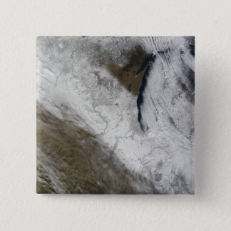 Satellite view of snow and cold 15 cm square badge