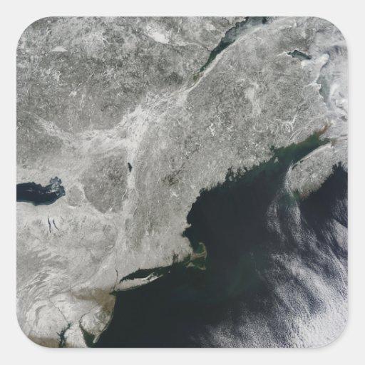 Satellite view of snow square sticker