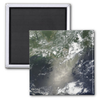Satellite view of streaks and ribbons of oil square magnet