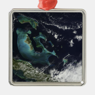 Satellite view of the Bahama Islands Silver-Colored Square Decoration