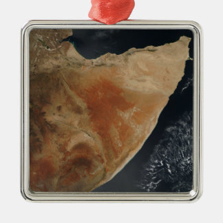 Satellite view of the Horn of Africa Silver-Colored Square Decoration