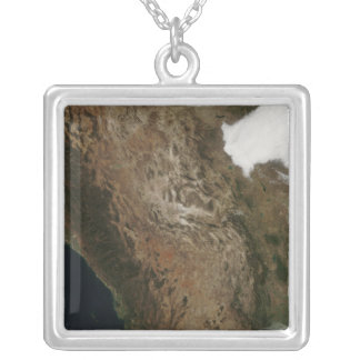 Satellite view of the landscape of central Mexi Silver Plated Necklace
