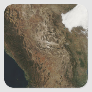 Satellite view of the landscape of central Mexi Square Sticker