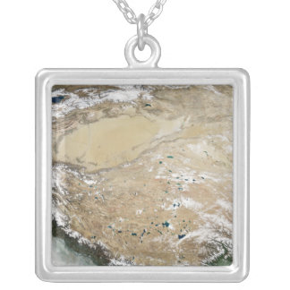 Satellite view of the Tibetan Plateau Silver Plated Necklace