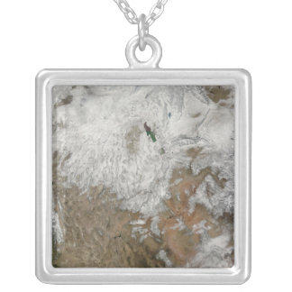 Satellite view of the western United States Silver Plated Necklace
