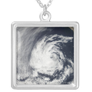 Satellite view of Tropical Depression Blas Silver Plated Necklace