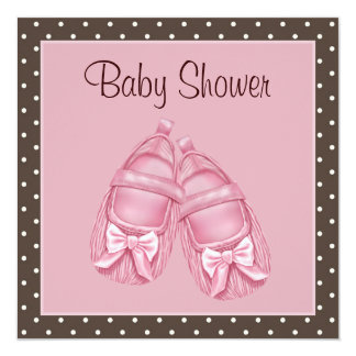 Satin Booties Pink and Brown Baby Girl Shower Card