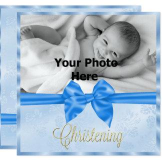 Satin Bow Photo Boy's Christening Card