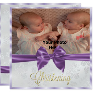 Satin Bow Photo twin Girl's  Christening Card