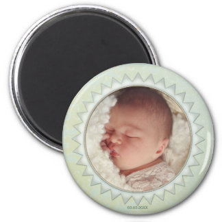 Satin Damask Pastel Green Baby Photo Magnet