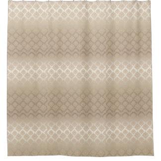 Satin Damask taupe beige bath Shower Curtain