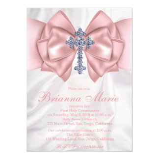 Satin Diamond Cross First Communion Invitation