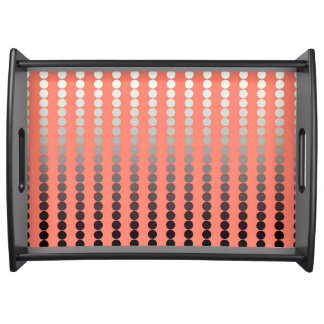 Satin dots - coral and pewter serving tray