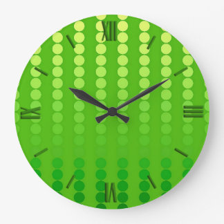 Satin dots - shades of lime green large clock