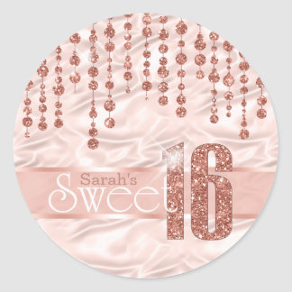 Satin Jewel Sweet Sixteen Rose Gold ID260 Classic Round Sticker