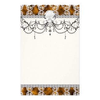 Satin Lace Effect Hint of Gold Damask Stationery Design