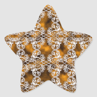 Satin Lace Effect Hint of Gold Damask Star Stickers